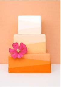 tangerine ombre wedding cake