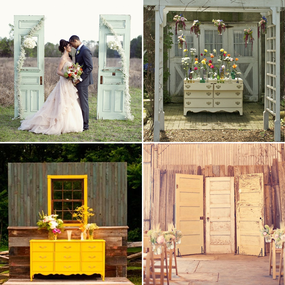 By Arranging Alters Reminiscent Of Their Living Rooms Or Using Antiques As Props To Display Floral Arrangements Just An Arch Rustic Doors